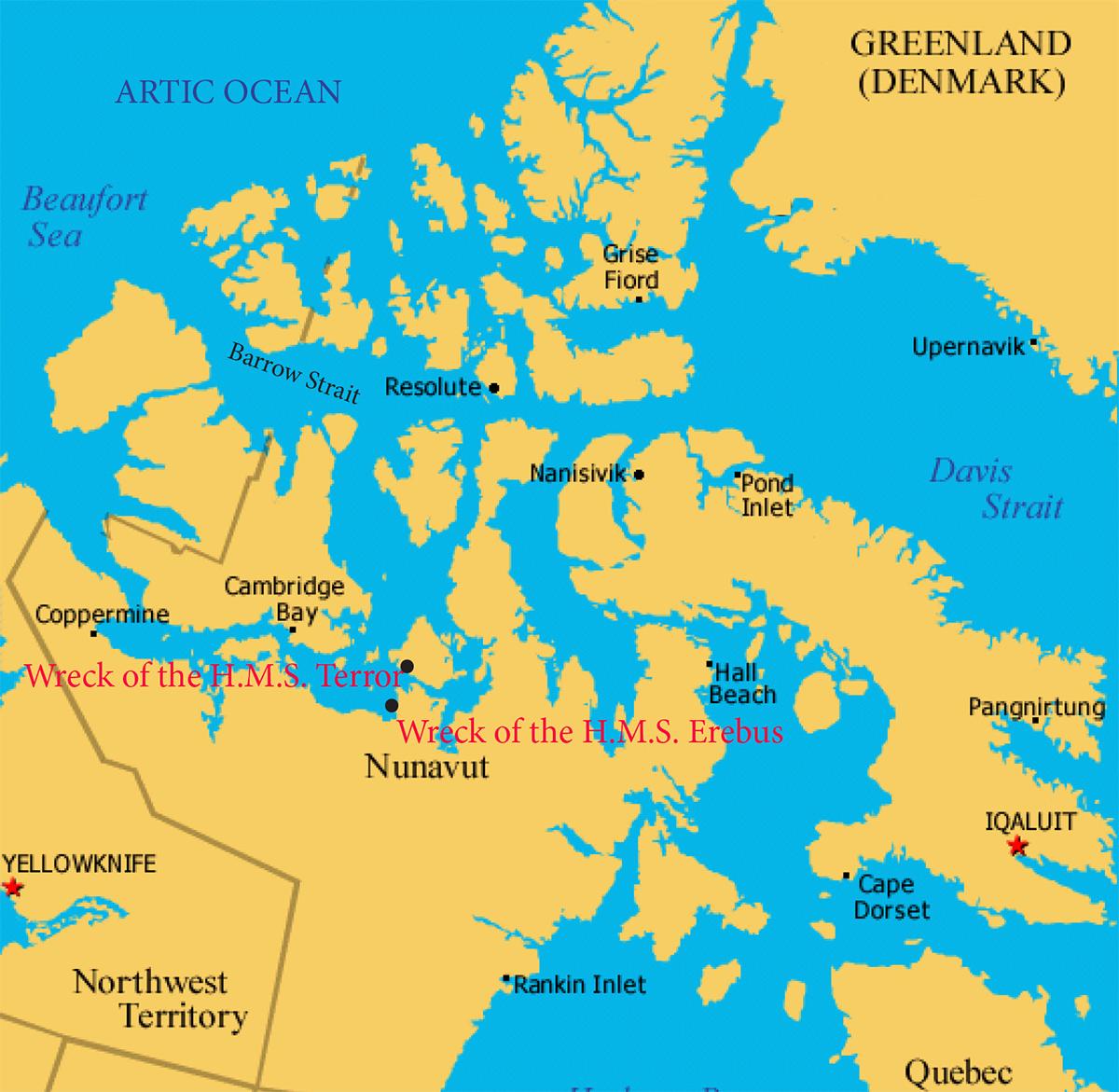 hms-terror-map-northern-canada-arctic-ocean