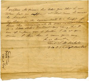 Letter re. Capt. Wm. May, July 5,1863, explaining he has been taken prisoner (p.2)