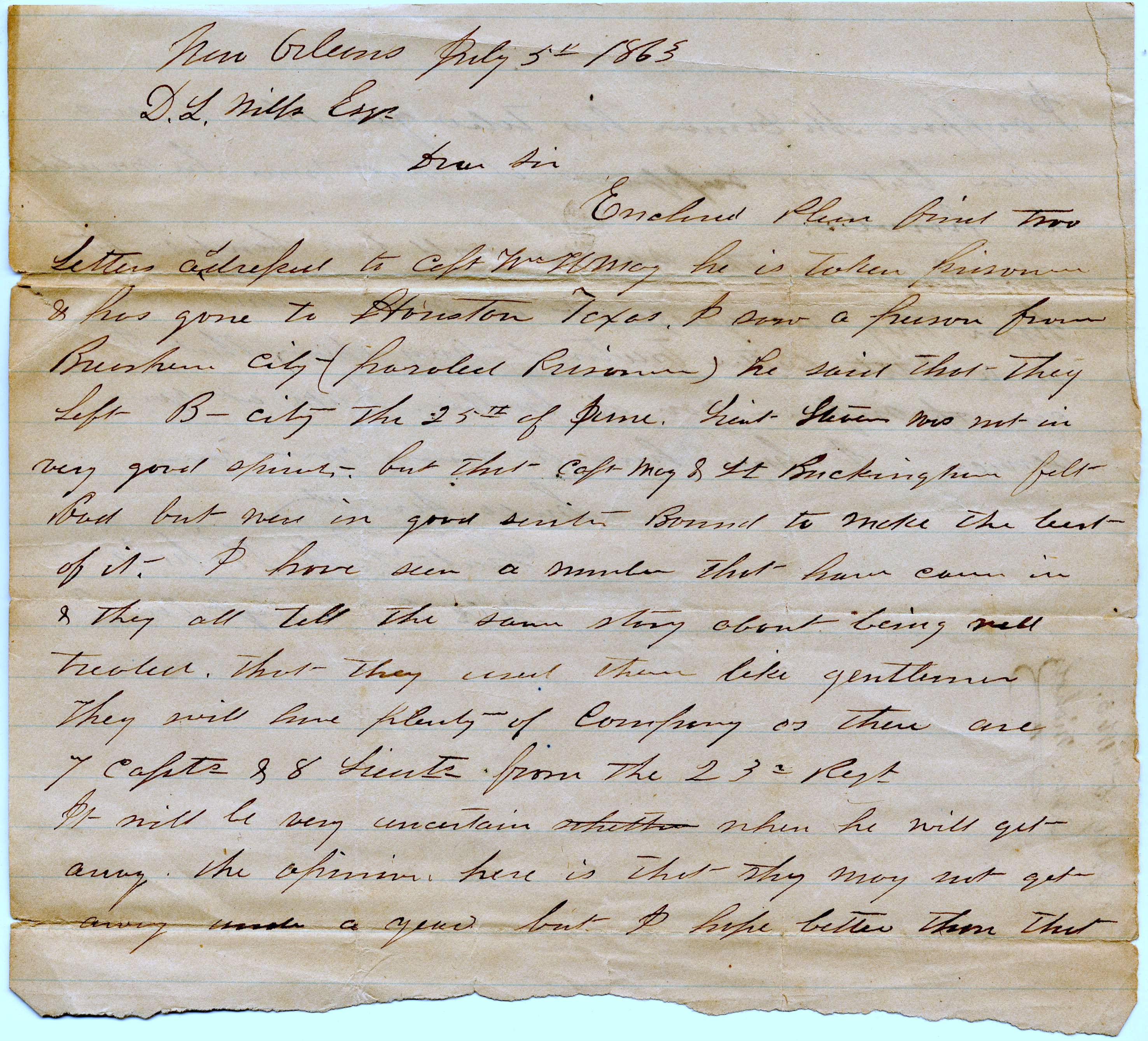 Letter re. Capt. Wm. May, July 5,1863, explaining he has been taken prisoner (p.1)